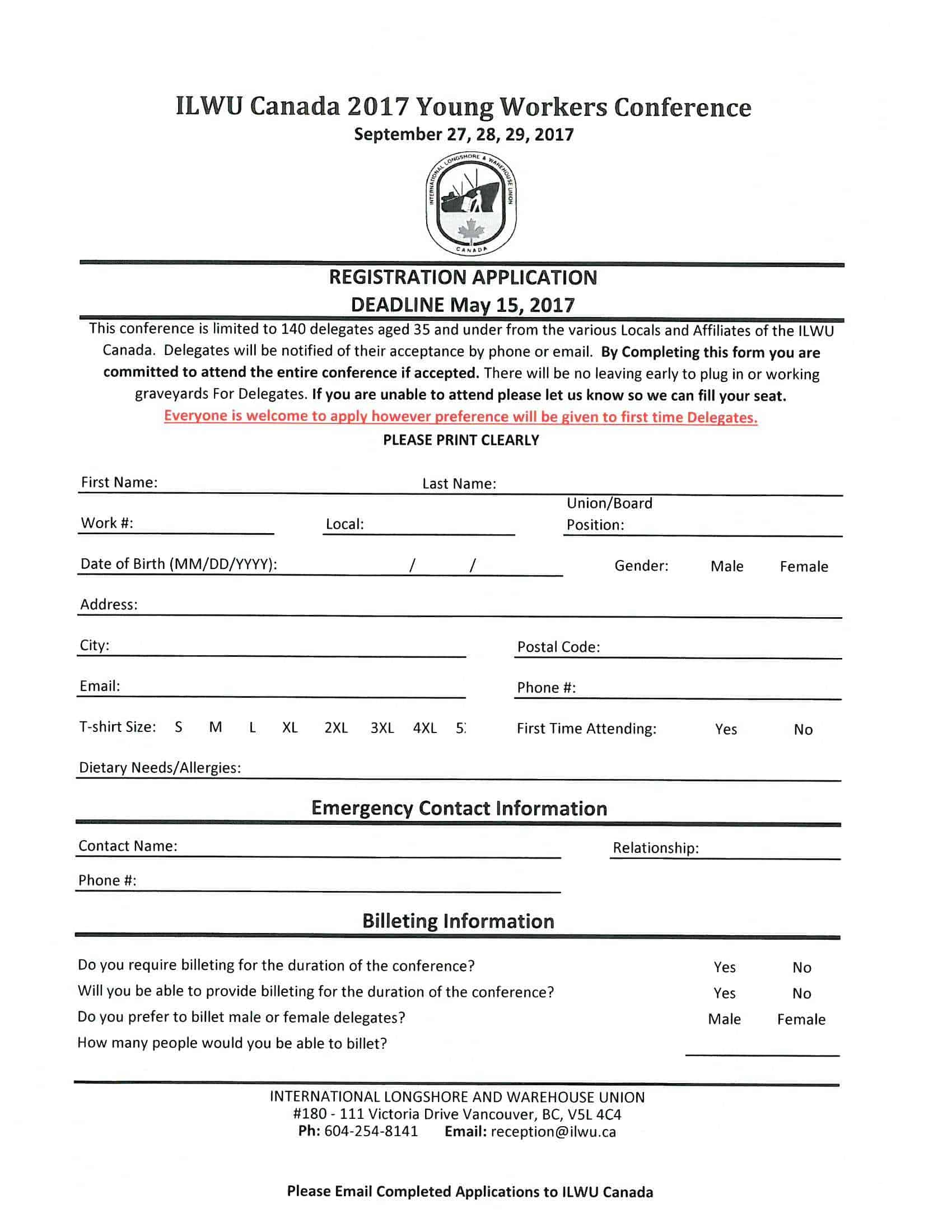 2017 Application Form