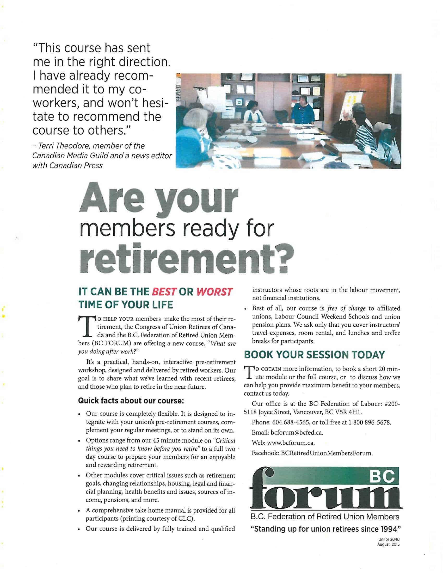 BCForum Retirement Planning